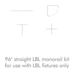 "LBL Lighting - LBL Lighting | 96 Inch Straight Lbl Monorail Kit - This monorail kit allows the creation of a straight, 96"" run.  With adjustable angle, ""T"" and ""X"" connectors (sold separately), other configurations are possible - some confirgurations may require cutting the rail, which is easily accomplished in the field.  For use with LBL lighting monorail light fixtures.  This kit includes:"