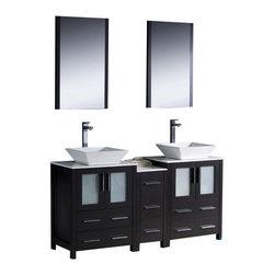 Fresca - Fresca FVN62-241224ES-VSL Torino 60 Inches Espresso Double Sink Bathroom Vanity - Fresca FVN62-241224ES-VSL Torino 60 Inches Espresso Modern Double Sink Bathroom Vanity With Side Cabinet & Vessel Sinks