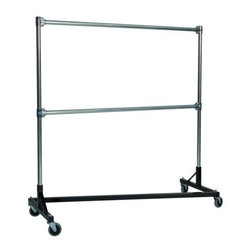 Z Racks - Heavy Duty Z-Rack 5 ft. Double Rail Garment R - Base Color: Black. 500lb capacity. 14 gauge, 60 in. Long steel base (Environmentally safe powder coated finish ). 16 gauge, 60 in. upright bars and double hang rails. 1 5/16 outside diameter upright bars and hang rail. Grey non-marking soft rubber with TP center 4 in. casters. Made in the USA. 63 in. L x 23 in. W x 67 in. HThis Z-Rack is designed to hold up to 500 lbs of apparel, while maximizing all five feet of length. And because the two rows are placed on top of each other, the rack will not tip under a heavy load.