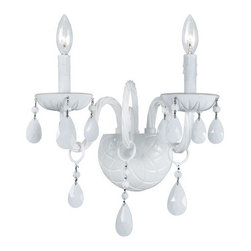 Crystorama Lighting Group - Crystorama Lighting Group 1072 Envogue 2 Light Candle Style Double Wall Sconce w - Crystorama 1072 Two Light Wall Sconce from the Envogue CollectionTraditional crystal chandeliers are classic, timeless, and elegant. Crystorama's opulent ALL WHITE glass arm chandeliers are nothing short of spectacular. With the Envogue Collection, Crystorama turns a classic traditional style into a fashion forward design.