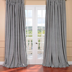 EFF - Silver Grey Velvet Blackout Extra Wide Curtain Panel - This plush grey curtain panel will update your interior with a formal,polished look. Made from high-quality material and featuring a soft thermal lining,this panel cascades in luxuriously thick poly velvet for an elegant finish to any room.