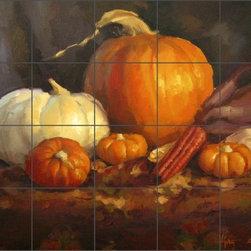 "Artwork On Tile - Gutting Pumpkin Vegetable ArtCeramic Tile Mural Backsplash 21.25"" x 17"" - AGA009 - * 21.25"" w x 17"" h x .25"" Ceramic Tile Mural on Architectural Grade, 4.25"" Tile w/Satin Finish"