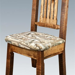 Montana Woodworks - 19 in. Handcrafted Dining Chair - Rustic timber frame design. Heirloom quality. Comfy upholstered seat in the wildlife pattern. Made from solid U.S. grown wood. Stained and lacquered finish. Made in USA. No assembly required. Seat height: 18 in.. Overall: 19 in. W x 18 in. D x 38 in. H (20 lbs.). Warranty. Use and Care InstructionsThis wonderful dining side chair is as comfortable as it is unique. This chair incorporates the tried and true mortise and tenon joinery system that has served as a symbol of durability for millennia.