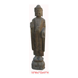 Chinese Antique Stone Hand Carving Standing Buddha Statue - Look at this Chinese standing Buddha statue which is made of stone. It should be perfect to decorate your garden.