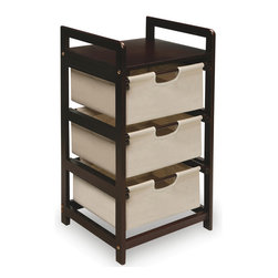 Espresso 3-Drawer Storage Unit - I like this three-drawer stand for extra storage in any room. I think it would make a great place for toys in a playroom, arts and crafts supplies in an office, or pajamas or workout clothing in the bedroom.