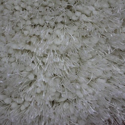 Rug - Authentic Solid White Shaggy Hand-tufted Area Rug, White, 2 X 3 Ft, Solid, White - Living Room Hand-tufted Shaggy Area Rug Door Mat