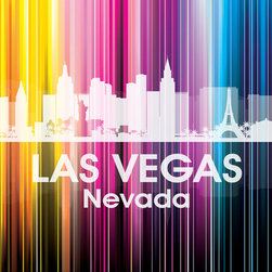 Las Vegas NV Vertical-Lined Rainbow Print - Sin City shines bright in a rainbow of color. This unique mixed-media artwork allows you to show off a little city pride with digital and photographic layers.