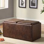 None - Oakford Cocktail Ottoman Table/ Bench - Add extra seating to your living room or den with this brown ottoman cocktail table. The two-seat ottoman has two serving trays to help you serve your guests and two stools tucked away inside. Its warm color will blend in well with your current decor.
