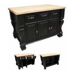 Jeffrey Alexander - Jeffrey Alexander Tuscan Kitchen Island Black 52-5/8 x 32-3/8 x35-1/4 Inch - Jeffrey Alexander 52 5/8 Inch x 32 3/8 Inch x 35 1/4 Inch furniture style island is manufactured using the highest quality furniture grade hardwoods and MDF. The islands features three working drawers and cabinets on one side and fully adjustable display shelves on the reverse. Cabinets have one fully adjustable shelf. The drawers are dovetailed solid hardwood and are mounted on full extension ball bearing slides. The included decorative hardware can be found in the Jeffrey Alexander Glenmore Collection (618 718). Coordinating posts are available in our carved wood collection (P13). Distressed Black finish is applied by hand. 1 3/4 Inch hard maple edge grain butcher block top sold separately (ISL01 TOP  54 Inch x 34 Inch) Overall Dimensions: 52 5/8 Inch x 32 3/8 Inch x 35 1/4 Inch  Dimensions taken from the widest point Finished in Distressed Black (finish applied by hand)  All Materials used meet California CARB2 Requirements