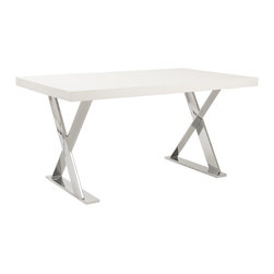 Eurø Style - Anika Desk with White High Gloss Lacquered Top - Features: