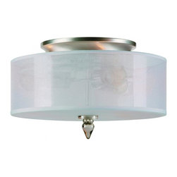 Crystorama - Crystorama Luxo Drum Shade Fixture in Satin Nickel - Shown in picture: Satin Nickel Finish Semi-Flush with Silver Silk Shimmer Shade; The Luxo Collection by Crystorama captures the essence of grace and style. The combination of the Silver Silk Shimmer shade and the smoky column accents allow this collection to work in any transitional setting. The attention is in the details with this collection from the bottom diffuser made of silk to the decorative canopy.