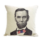 reStyled by Valerie - Abe Lincoln Decorative Pillow, Throw Pillow, Cushion Cover, Modern Pillow - Tall, dark and handsome. Well, two out of three ain't bad. Celebrate one of American history's most notable figures with this Abe Lincoln decorative throw pillow, featuring an original illustration by Nick Williams screen-printed on linen.