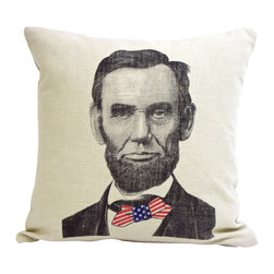 reStyled by Valerie Home - Abe Lincoln Decorative Pillow, Throw Pillow, Cushion Cover, Modern Pillow - Tall, dark and handsome. Well, two out of three ain't bad. Celebrate one of American history's most notable figures with this Abe Lincoln decorative throw pillow, featuring an original illustration by Nick Williams screen-printed on linen.