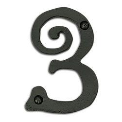 Atlas Homewares - Black Scroll House Number - #3 (ATHSCN3LBL) - Black Scroll House Number - #3