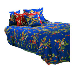 Crewel Fabric World - Crewel Bedding Random Flowers Royal Blue Cotton, Queen - Artisans in a remote mountain village in Kashmir crewel stitch these blossoms, vines and leaves by hand, resulting in a lush pattern of richly shaded wool yarns on Linen, Cotton, Velvet and Silk.