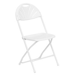 Flash Furniture - Flash Furniture Hercules Series White Plastic Fan Back Folding Chair - Plastic folding chairs are the choice of many event planners for their lightweight design, ease of cleaning, and versatility among events. This portable folding chair can be used for banquets, parties, graduations, sporting events, school functions and in the classroom. This chair will be the perfect addition in the home when in need of extra seating to accommodate guests. constructed of lightweight textured polypropylene and a strong steel frame, these folding chairs will suit most any occasion. [LE-L-4-WHITE-GG]