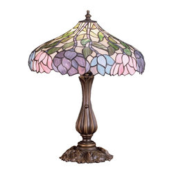 Meyda Tiffany - Meyda Tiffany Lamps Table Lamp in Copperfoil - Shown in picture: Wisteria Table Lamp; Stylized Wisteria Flower Clusters Of China Pink - Grape And Amethyst Blue With Jade Green Leaves Drape Over This Ivory Toned Graceful Copper Foil Table Lamp Shade. The Classic Styling Of This Tiffany Style Stained Glass Fixture And Soft Pastel Colors Will Add Charm To Any Room.