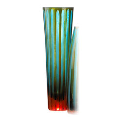 Kathy Kuo Home - Large Cyan and Orange Striped Vase - The art of chiseled glass is brought to life in vivid shades of cyan, orange and sea-glass green.  Vertical chiseled stripes create the color variance, while the spare silhouette creates a shapely stage for this color play to come to life.  All contemporary spaces - especially mid century modern ones - will find this an artful and welcome addition.