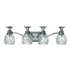 Hinkley - Hinkley Plantation 4-Light Polished Antique Nickel Vanity - 5314PL - This 4-Light Vanity is part of the Plantation Collection and has a Polished Antique Nickel Finish. It is Damp Rated.