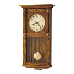 Howard Miller - Howard Miller Contemporary Dual Chime Oak Pendulum Wall Clock | Ashbee II - 620185 Ashbee II