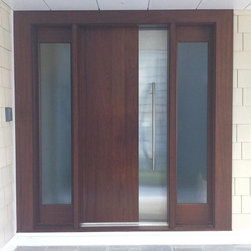 """Ervin - This Custom Contemporary Front Entry Door, DbyD-5014,  was designed and built for a modern home in Virginia Beach, Virginia.  This 36"""" X 96"""" Contemporary Door with 14"""" Sidelites was built of Sapele Mahogany and has a Stainless Steel Panel on both sides of the door.  The Entry was stained with a """"Traditional Mahogany"""" stained and finished by Doors By Decora.  Doors By Decora also had the custom door hardware pull made for this door.  The glass is St. Gobian """"Master Carre"""" and is insulated and tempered."""