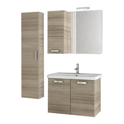ACF - 30 Inch Larch Canapa Bathroom Vanity Set - Rectangular in shape and a contemporary design make this bathroom vanity set ideal for you master bathroom. It is a 30 inch wide vanity set that includes a vanity cabinet, bathroom sink, vanity mirror, short storage cabinet and tall storage cabinet. It is