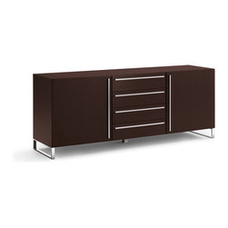 Domitalia - Domitalia Life-2C Sideboard in Chrome/Wenge - For a modern sideboard that gives you all the storage space you could want in life, try the Domitalia Life-2C Sideboard in Wenge. Comprised of four drawers and two cabinets, this sideboard gives you plenty of space to stash your dishware, cutlery, and anything else you need out of sight.