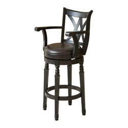 Great Deal Furniture - Montreal Black Finish Swivel Bar Stool - With its clean lines and luxuriously carved design, the Montreal Swivel Barstool captures the feel of upscale furniture, while ensuring versatile function and exceptional durability. Sure to make an impression in any setting, this elegant stool features a seat upholstered in espresso bonded leather to envelop you in luxurious comfort as you unwind over a drink or enjoy a meal with friends. The 360 degree swivel feature ensures you always have the best seat in the house, while the full-ring footrest offers added comfort and makes getting in and out of the stool a breeze. With its upscale look and practical function, this bar stool is sure to remain a favorite part of your seating arrangement for years to come.