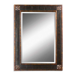 """Uttermost - Uttermost Miscellaneous Decorative Mirror in Wood - Shown in picture: Frame features a distressed chestnut brown finish with mottled black undertones - gold leaf details and a light tan glaze. Mirror has a generous 1 1/4"""" bevel.  MATERIAL: WOOD+GESSO"""
