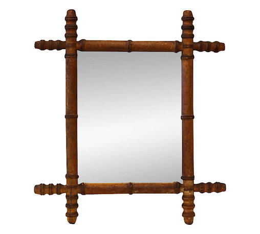 French Faux-Bamboo Mirror - Mirror, mirror, on the wall … this aged, vintage French, faux-bamboo looking glass is a favorite of the ultrachic panda set. If you too adore bamboo, a construction material traditionally associated with the cultures of South Asia, East Asia and the South Pacific, you'll love this high-end tiki culture mirror for your habitat.