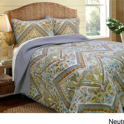 None - Tangiers Blue Quilt and Sham Separates - Featuring an attractive design in shades of blue,these quilt and shams separates will surely give your bedroom the refreshing change you've been waiting for. These pieces are made of cotton and can be machine washed cold for your convenience.