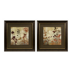 iMax - iMax Tibbits Silhouette Framed Art - Set of 2 X-2-07028 - Raised panels are surrounded by a classic frame in the set of two Tibbits silhouette framed art.