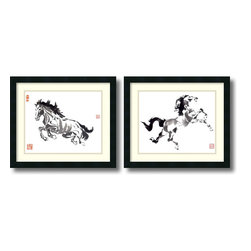 Amanti Art - Nan Rae 'Untrammeled and The Prince- set of 2' Framed Art Print 21 x 18-inch Eac - The grace and power of the horse is evident in these fine ink illustrations by Nan Rae, which makes for the perfect complement to the decor of any equestrian enthusiast.