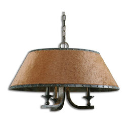 Carolyn Kinder - Carolyn Kinder Tundra Rustic Transitional Chandelier X-85212 - This rustic chandelier features warm brown faux fur with bold rivet details on both the upper and lower trim bands in a complex antique verdigris finish showing hints of green, black and gray. A traditional look with an updated twist.