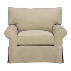 Slipcover Only for Cortland Swivel Chair - Machine-washable skirted slipcover tailored for the Cortland Swivel Chair takes on everyday living.