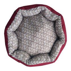 Four Seasons - Burgundy Pet Bed 20x20 Gray Dog Bones Puppy Floor Pillow - Features:
