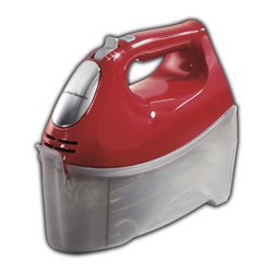 Hamilton Beach - Hand Mixer Red - This Hamilton Beach ensemble Hand Mixer with storage case has 275 Watts of peak power. It has a bowl rest feature and six speeds with a QuickBurst button. The slower first speed reduces messy splatters. Comes with five attachments: two traditional beaters, two dough hooks and one whisk.