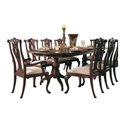 American Drew - American Drew Cherry Grove 7 Piece Dining Room Set in Antique Cherry - The 45th Anniversary Cherry Grove Collection is a blending of new and old adaptations from 18th century and higher end traditional styling. Georgian, Edwardian, Sheraton along with Queen Anne elements create this beautiful assortment of furniture. Cathedral cherry veneers, alder solids and select hardwoods create a new and exciting collection of bedroom, dining room and occasional for American Drew. Cherry Grove features many new items that have been designed to fill the needs of your home along with many proven winners that have existed since the very beginning. Scale and dimensions have been addresses to better suit today's standard of living. Cherry Grove now offers you a variety of opportunities to complement multiple decorating environments. In the American Drew tradition, attention to detail and exquisite craftsmanship make every piece an heirloom. You will be investing in a timeless piece of furniture that will be cherished for generations to come.