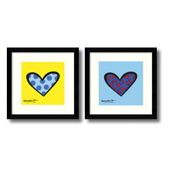 Amanti Art - Romero Britto 'Blue About You/Bee Bop Love- set of 2' Framed Art Print 12 x 12-i - Bring to your decor bright colors and playful design with this vivid and fun heart set by contemporary artist Romero Britto.