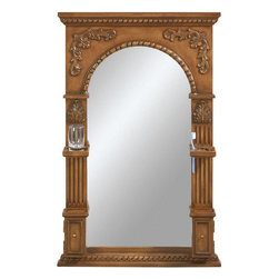 Home Decorators Collection - Chelsea Mirror with Storage - The Heirloom Arched Mirror is as convenient as it is stylish with its toothbrush holder, soap dish and elegant, antique-inspired design. With a lustrous finish and fine craftsmanship, this wall decor will make a stunning addition to your bathroom or bedroom. Be sure to purchase your bathroom mirror today. Beautifully crafted of birch wood and sturdy composite. The look of hand carving provides exquisite style.Lower compartments feature storage for accessories.