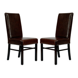 Safavieh - Safavieh Classic Side Chair X-2TES-A5028DUH - Safavieh's Classic side chair has a timeless appeal that won't fade with fads. Characterized by clean lines and well-balanced proportions, Classic, shown in brown leather and dark cherry finished legs, is at home in traditional and transitional settings.