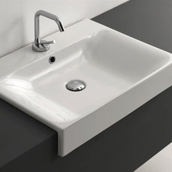 WS Bath Collections - 23.6 in. Ceramic Bathroom Sink - Includes mounting hardware. Counter top, semi-recessed installation. With overflow. One faucet hole. Designer high end premium quality. ADA compliant. Designed by Marc Sadler. Warranty: One year. Made from ceramic. White color. Made in Italy. 23.6 in. W x 17.7 in. D x 3.9 in. H (35 lbs.). Spec SheetKerasan by WS Bath Collections, designers high-end ceramic washbasins and sanitary ware with the greatest imaginable versatility in application. Models that adhere to the more current trends of design, harmony and elegance.