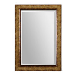 "Uttermost - Cullen Champagne Gold Mirror - Frame features a heavily burnished, champagne gold finish with a generous 1 1/4"" beveled mirror. May be hung horizontal or vertical."