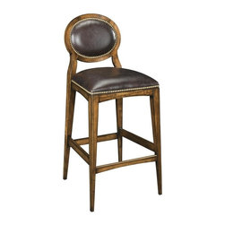 EuroLux Home - New Bar Stool Cocoa Brown Leather Oval - Product Details