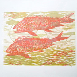 The Pond (Original) by Carolyn Ryan - This piece was inspired by the luminescent light of a summer pond. The golden fish is the symbol of abundance and harmony.