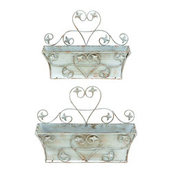 Benzara - Classic Metal Wall Planter with Rustic Finish - Set of 2 - A rustic and worn out look adds to the beauty of this metal wall planter which is a set of 2. Enhance your living room, your patio or bedroom with the stylish planter. The design is versatile and the overall appearance is chic. This unique metal wall planter is a great add on to any wall in your home or office. It effortlessly beautifies your personal space. Adding it to your office can increase the look and feel of your office and blends well with the corporate environment. It is available in 2 size variants - 11 in.  H x 16 in.  W x 5 1/2 in.  D, 13 in.  H x 18 in.  W x 6 in.  D.