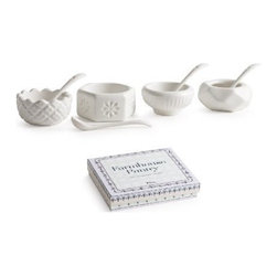 Rosanna - Farmhouse Pantry Salt & Pepper Cellars By Rosanna - Our Farmhouse Pantry Salt & Pepper Cellars is inspired by old-fashioned milk glass. these tabletop staples are the perfect complement to Rosanna's Farm Belle line. Celebrate the farmtotable tradition by serving fresh food in simple, beautiful shapes.
