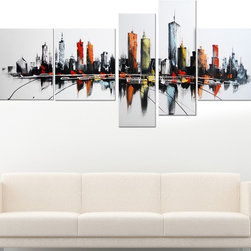 5-piece Colorful USA Cityscape Oil Painting on Canvas -