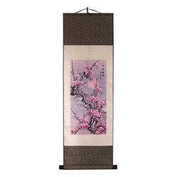 Oriental-Decor - Drama of the Seasons Chinese Print Scroll - A splendid cherry blossom design during the winter moon is the theme of this special Chinese print scroll. Add it to your home, business or office to create harmony and serenity. Makes for beautiful Asian decor.