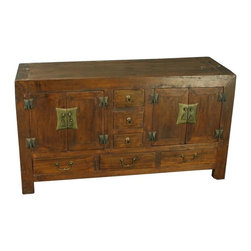 EuroLux Home - Consigned Antique Chinese Low Sideboard Cabinet Chest - Product Details